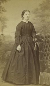France Saint Etienne Woman Portrait Fashion Old CDV Photo Cheri Rousseau 1865 #1
