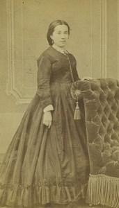 France Saint Etienne Woman Portrait Fashion Old CDV Photo Cheri Rousseau 1865 #2