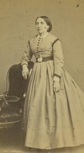 France Saint Etienne Woman Portrait Fashion Old CDV Photo Cheri Rousseau 1870 #2