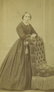 France Saint Etienne Woman Portrait Fashion Old CDV Photo Cheri Rousseau 1870 #1