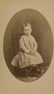 France Saint Etienne child Portrait Fashion Old CDV Photo Cheri Rousseau 1875