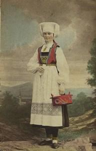 Sweden Scania Herrestad Woman Traditional Costume Old CDV Photo Eurenius 1868