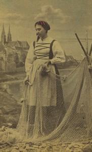Switzerland Fisherwoman traditional costume Net Old CDV Photo Braun 1870