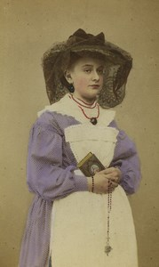 Switzerland Fribourg Woman Traditional costume Old CDV Photo Sohn 1875
