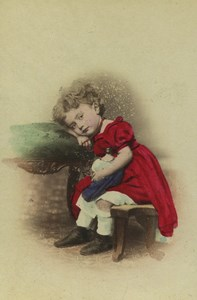 Germany Berlin Tired child Ermüdet Old hand colored CDV Photo Moser 1875