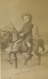 Netherlands Leidein Young Horse Rider Wooden? Horse Old CDV Photo Goedeljee 1880