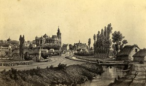 France Avranches panorama Old CDV Photo of gravure Desroches Anfray 1870
