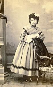 France Bordeaux Woman portrait fashion Victorine Old CDV Photo Denisse 1870