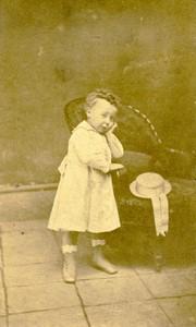 France Arras Toddler Boy portrait fashion Old CDV Photo Desavary 1870