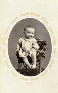 France Rouen Child Baby portrait fashion Old CDV Photo Renouard 1870's