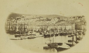 Italy Trieste Town & Port panorama Old CDV Photo 1870