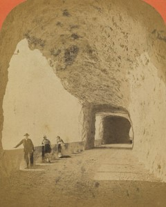 Switzerland Axenstrasse Gallery Mountain Road Old CDV Photo Lamy 1870's