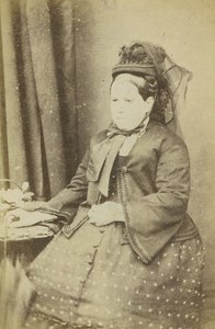 Victorian Fashion Lady Hat and Umbrella old Curran CDV Photo 1870