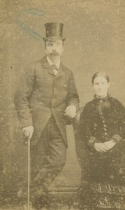 Couple Man with Top Hat Moustache Cane St Austell old Orchard CDV Photo 1870