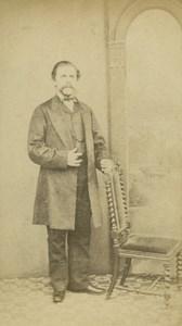 Victorian Fashion Man Standing Big Moustache London old Shearman CDV Photo 1865
