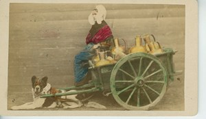 Antwerp Peasant Milk Cart & Dog Traditional Costume Belgium old CDV Photo 1875