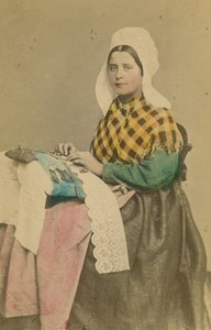 Antwerp Seamstress Sewing Traditional Costume Belgium old CDV Photo 1875