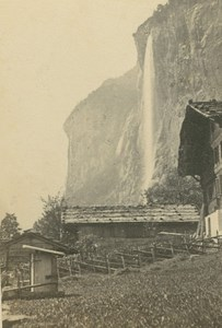 Staubbach Falls Waterfall Bernese Oberland Ad Braun old CDV Photo 1860
