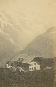 Mürren Mountain Chalet Group of Men Switzerland Ad Braun old CDV Photo 1860