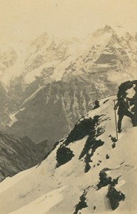 Eiger Mönch & Jungfrau from Schilthorn Swiss Alps Ad Braun old CDV Photo 1860
