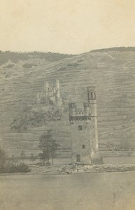 Mouse Tower Mäuseturm & Ehrenfels Castle Germany Ad Braun old CDV Photo 1860