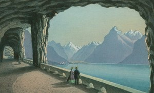 Axen Road Tunnel Fluelen Miniature Coloured Aquatint Rudolf Dickenmann 1860
