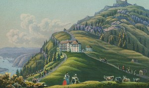 Mount Rigi Miniature Hand Coloured Watercolour Aquatint Rudolf Dickenmann c 1860