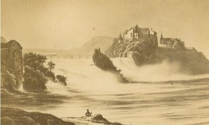 Switzerland Schaffhausen Rhine Falls Rhyfall old CDV Photo of Gravure 1860's