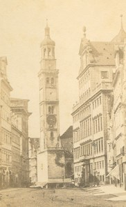 Germany Augsburg Perlachturm Tower Rathaus Townhall Bavaria old CDV Photo 1860's
