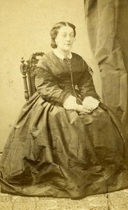 France Strasburg Woman Western Fashion Crinoline Old CDV Winter Photo 1860