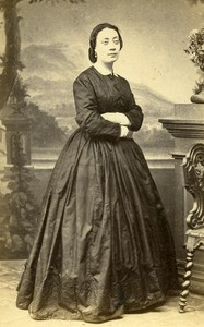 France Toulouse Woman Western Fashion Crinoline Old CDV Marrast Photo 1860