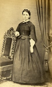 France Strasbourg Woman Western Fashion Crinoline Old CDV Langrene Photo 1860