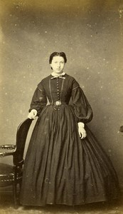 France Amiens Woman Western Fashion Crinoline Old CDV Centrale Photo 1860