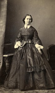 France Strasbourg Woman Western Fashion Crinoline Old CDV Winter Photo 1860