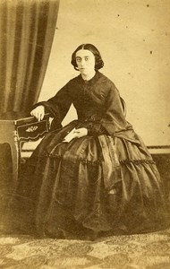 France Paris Woman Western Fashion Crinoline Old CDV Anonymous Photo 1860