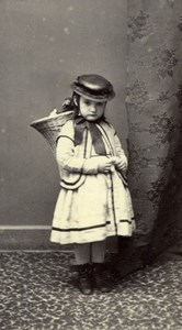 Switzerland Vevey Girl Traditional Costume Wicker Basket De Jongh CDV Photo 1860