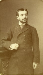 Portrait French Man Artificial Light process Old Liebert CDV Photo 1880
