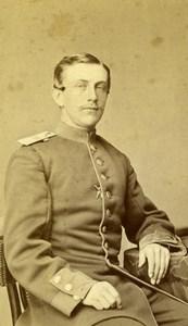 Poland Inowroclaw Man in Uniform Military Old Gangeloff CDV Photo 1860's