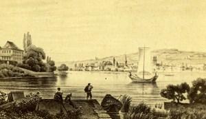 Switzerland Zurich Enge Lake Old CDV Photo of Gravure 1860's