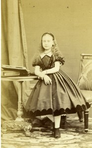 France Young Girl Posing Second Empire Fashion Old Disderi CDV Photo 1860's