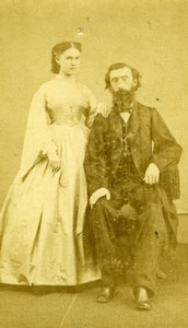 USA Washington DC Couple Portrait Bearded Man Old Gardner CDV Photo 1860's