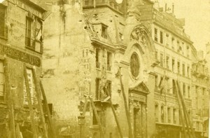 France Ruines de Paris Commune Protestant Temple du Marais Old CDV Photo 1870's