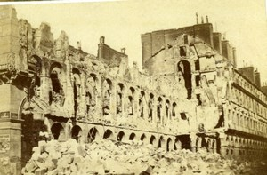 France Ruines de Paris Commune Ministere des Finances Ruins Old CDV Photo 1870's