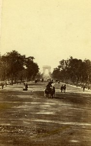 France Paris Avenue des Champs Elysees Arc de Triomphe Old CDV Photo 1860's