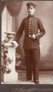 Germany Poland Thorn Torun Man in Military Uniform Old Assmann CDV Photo 1900