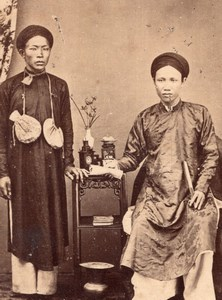 Cochinchina Rich Annamite Couple Vietnam  Old Pun-Ky CDV Photo 1870's
