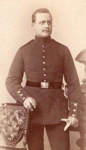 Wittenberg Homme en Uniforme Militaire Cigare Ancienne Photo CDV Thiele 1880