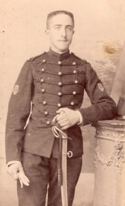 Poitiers Man in Military Uniform Old Perlat CDV Photo 1900