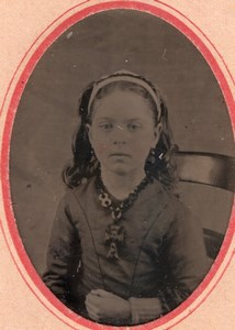 USA ? Young Girl Portrait Necklace Emma Percy old Tintype Photo 1880's
