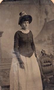 USA ? Portrait Woman Nice Hat old Tintype Photo 1880's